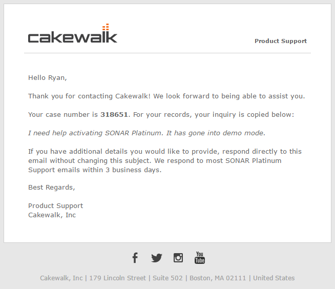 Cakewalk support update cakewalk forums for Customer support email template