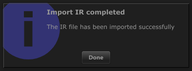 Import IR completed message