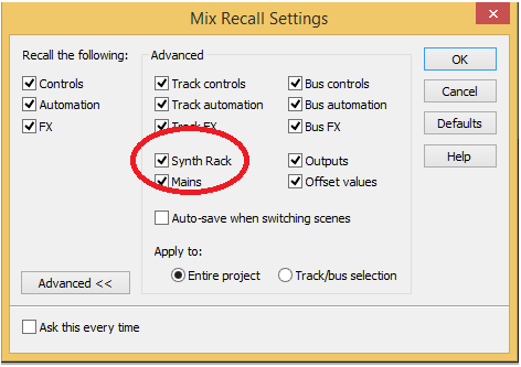 Mix Recall Settings
