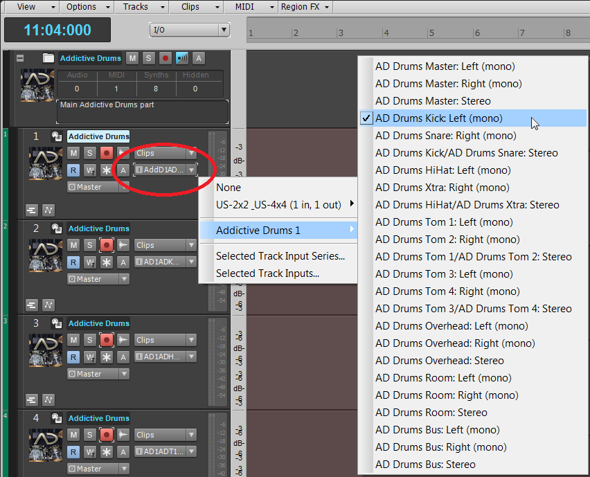 Selecting track I/O in the Track View