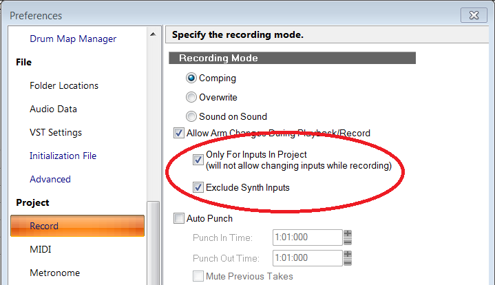 Exclude Synth Inputs Preferences