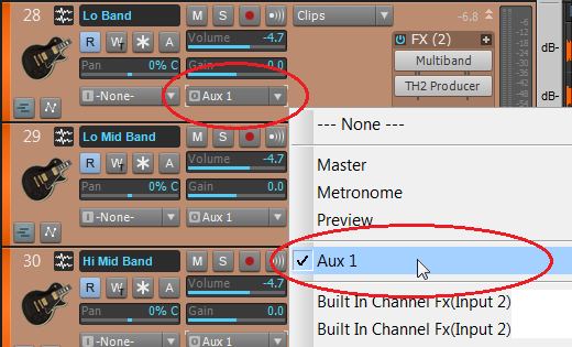 Aux Track in an output menu