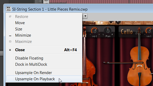 Upsample on playback