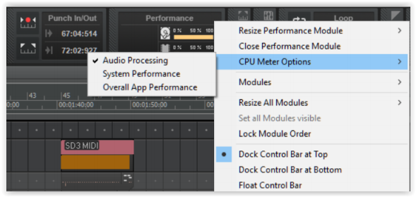 CPU Performance Meter Modes